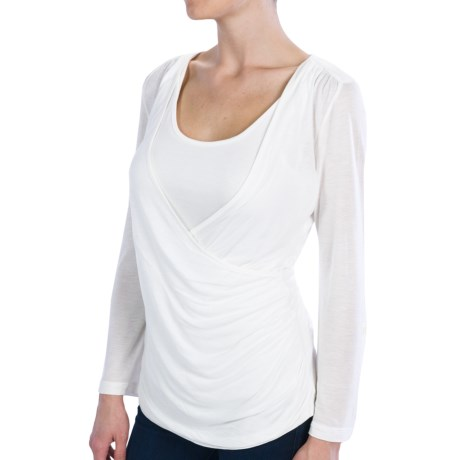 Wrap-Front Side-Ruched Shirt - Modal, Roll-Up Long Sleeve (For Women)