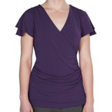 Wrap Front Ruched Shirt - Short Sleeve (For Women)