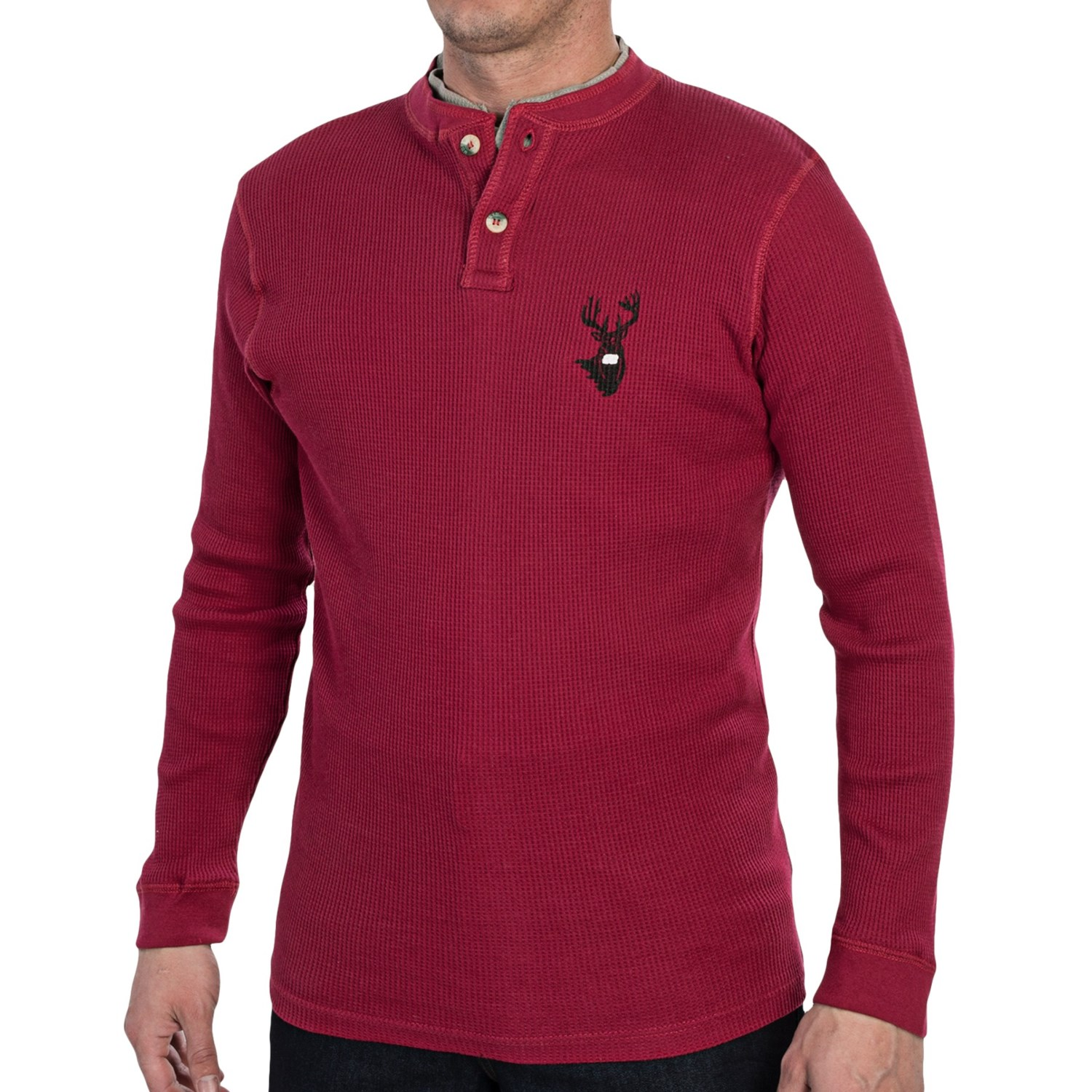 Dual neck thermal henley shirt for men 6859m save 77 for Men s thermal henley long sleeve shirts
