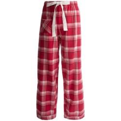 Flannel Pajama Bottoms - Satin Trim (For Women)