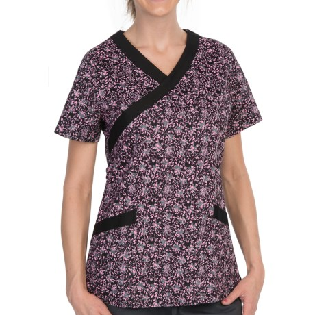Dansko Gwen Mock Wrap Scrub Top - Short Sleeve (For Women)
