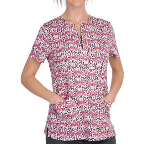 Dansko Gillian Empire Waist Print Scrub Top - Short Sleeve (For Women)