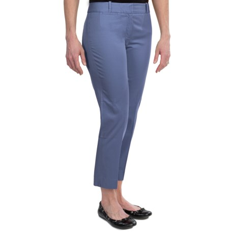 Stretch Cotton Sateen Ankle Pants (For Women)