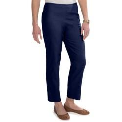 Stretch Pique Cotton Ankle Pants - Flat Front (For Women)