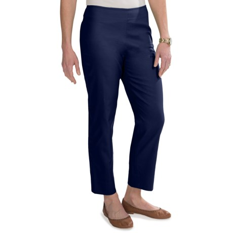 Stretch Pique Cotton Ankle Pants - Flat Front (For Women)
