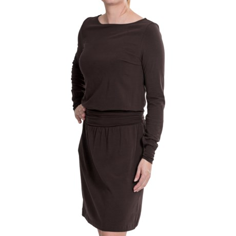 Lilla P Stretch Ruched Waist Dress - Pima Modal, Boat Neck, Long Sleeve (For Women)