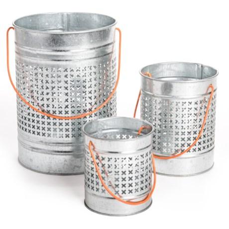 Two's Company Carnival Lights Pierced Bucket Lanterns - Set of 3