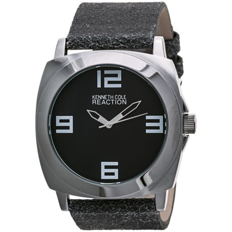Kenneth Cole Reaction Round Watch - Distressed Leather Band (For Men and Women)