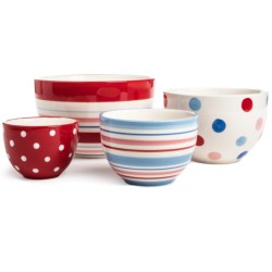 DII Sweet Dots Stoneware Prep Bowls - Hand-Painted, Set of 4