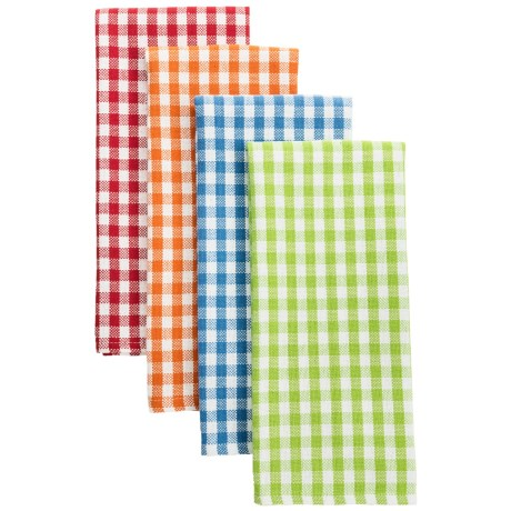 DII Summer Gingham Dish Towels - Heavyweight Cotton, Set of 4