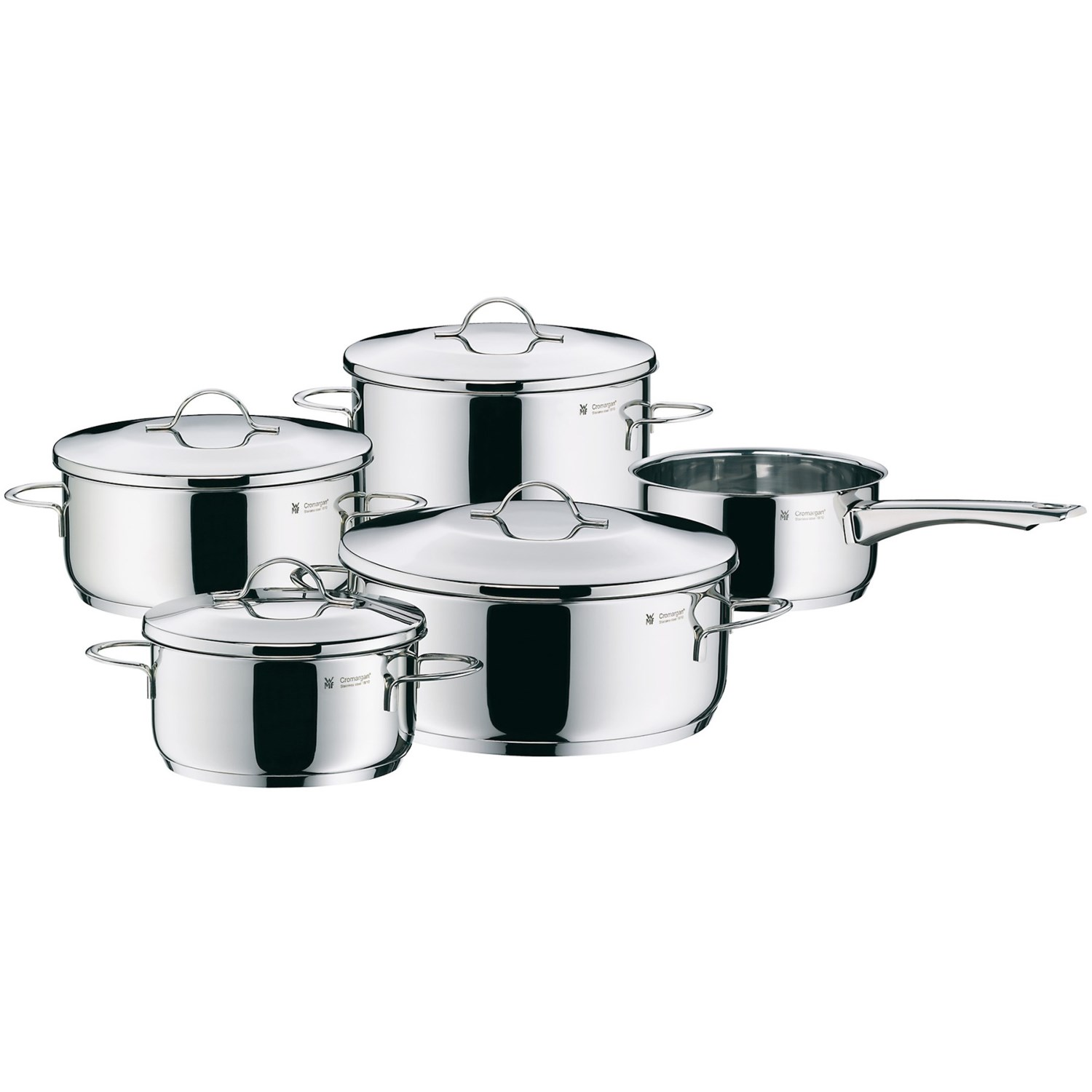 wmf casa cookware set cromargan 18 10 stainless steel 9 piece 6941d save 57. Black Bedroom Furniture Sets. Home Design Ideas