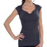 Drape Neck Shirt - Stretch Rayon, Short Sleeve (For Women)