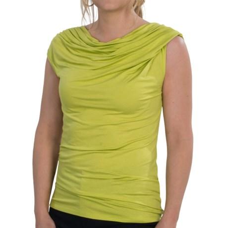 Lafayette 148 New York Moda Jersey Shirt - Twisted Cowl Neck, Short Sleeve (For Women)