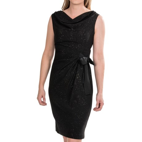 Taylor Drape Neck Dress - Side Tie, Sleeveless (For Women)