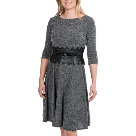 Taylor Fit and Flare Dress - Dobby Knit, 3/4 Sleeve (For Women)
