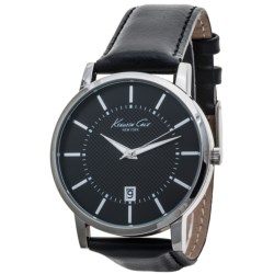 Kenneth Cole Round Analog Watch - Calfskin Leather Strap (For Men)