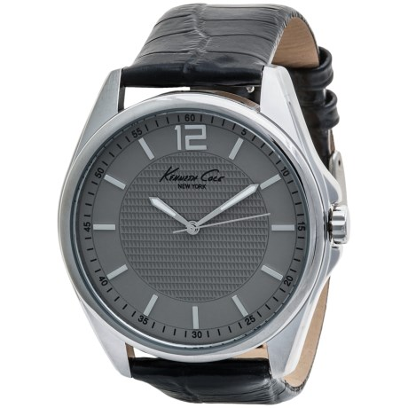 Kenneth Cole Round Case Watch Gift Set - Interchangeable Croc-Embossed Leather Strap (For Men)