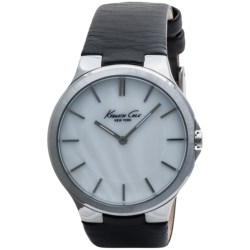 Kenneth Cole Slim Mother-of-Pearl Face Watch - Leather Strap (For Men)