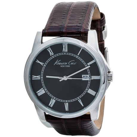 Kenneth Cole New York Classic Analog Watch - Croc-Embossed Leather Band (For Men)
