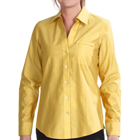 Foxcroft Johnny Collar Cotton Shirt - No Iron, Long Sleeve (For Women)