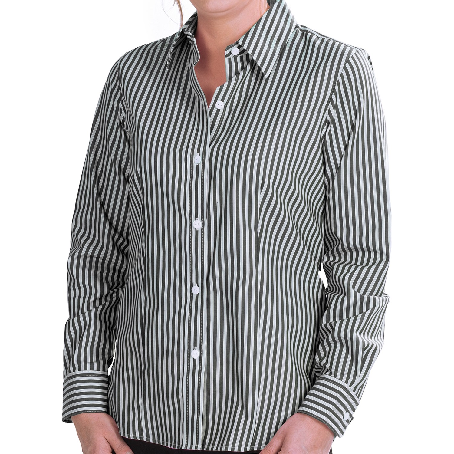 Foxcroft twill stripe shirt for women 7028u save 69 Wrinkle free shirts for women