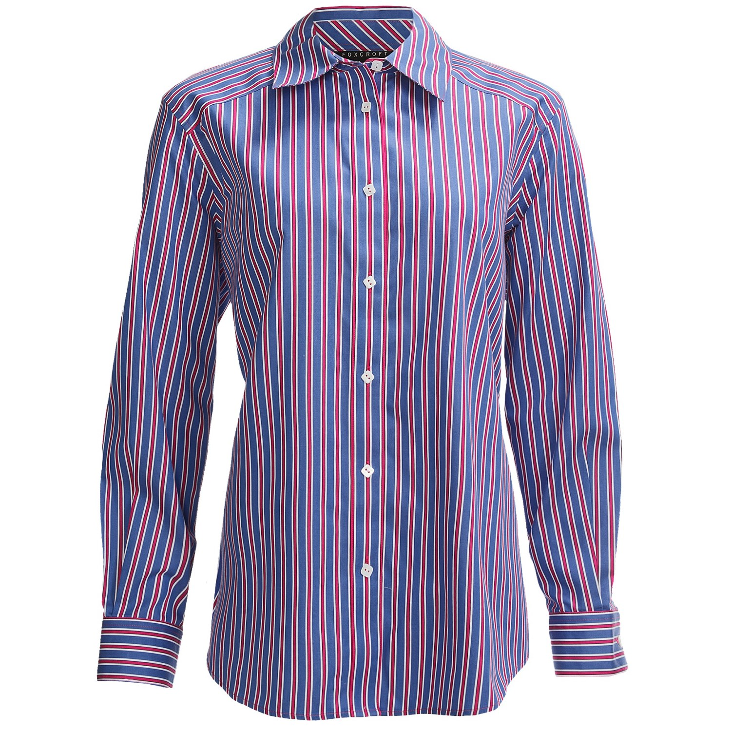Foxcroft shaped multi stripe shirt for plus size women Wrinkle free shirts for women