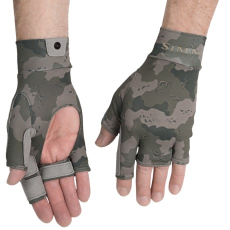 Simms Sun Gloves - UPF 50+, Camo Print (For Men)