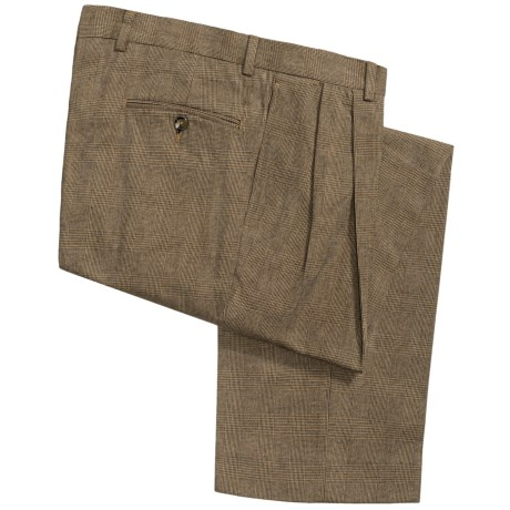 Charleston Khaki by Berle Cotton Plaid Pants - Pleated (For Men)