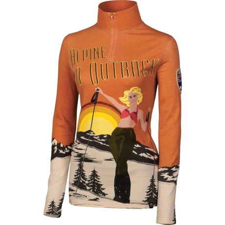Neve Australia Base Layer Top - Silk-Wool, Zip Neck, Long Sleeve (For Women)