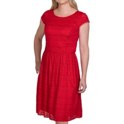 Chetta B Textured Lace Overlay Dress - Short Sleeve (For Women)