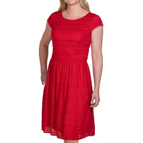 Chetta B Textured Lace Overlay Dress - Short Sleeve (For Women)