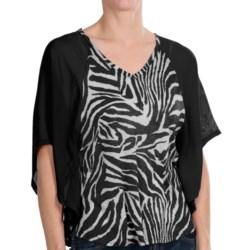 Joan Vass Animal Print Flounce Blouse - 3/4 Batwing Sleeve (For Women)