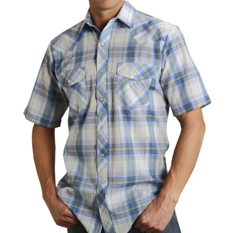 Roper Classic Plaid Snap Front Shirt - Short Sleeve (For Men)