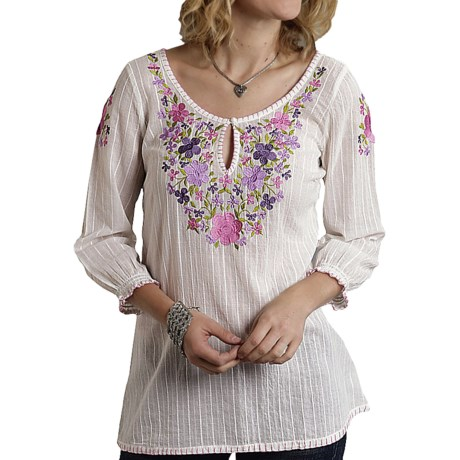 Roper Garden Bouquet Peasant Blouse - Dobby Stripe, 3/4 Sleeve (For Women)