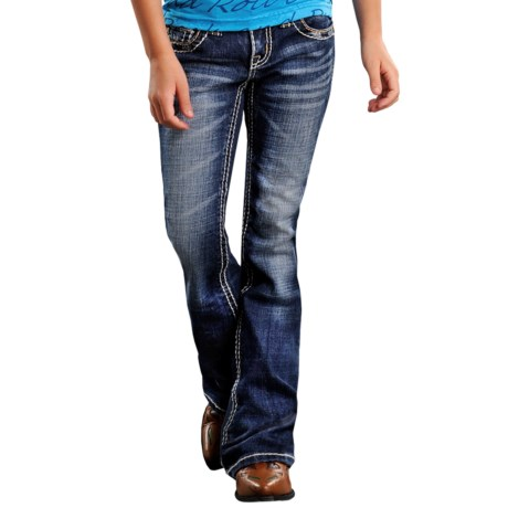 Rock & Roll Cowgirl Embroidered Abstract Bean Stitch Jeans - Bootcut (For Girls)