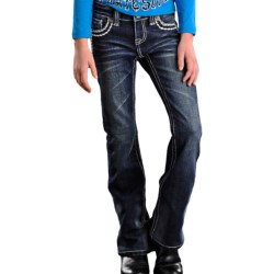 Rock & Roll Cowgirl Feather Stitch Jeans - Flap Pocket, Bootcut (For Girls)