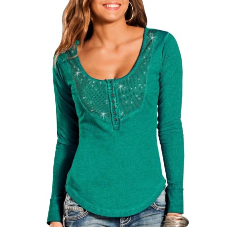 Rock & Roll Cowgirl Hi-Lo Henley Shirt - Scoop Neck, Long Sleeve (For Women)