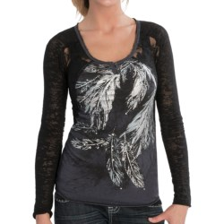 Rock & Roll Cowgirl Feather Lace Shirt - Long Sleeve (For Women)