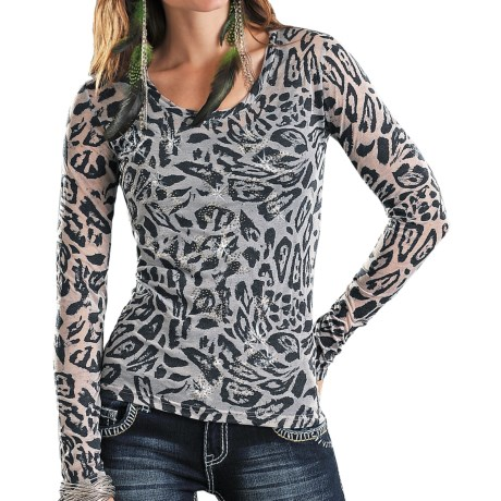 Rock & Roll Cowgirl Rhinestone Leopard Shirt - Burnout, Long Sleeve (For Women)