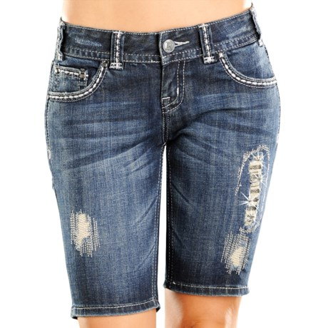 Rock & Roll Cowgirl Rhinestone Distressed Jean Shorts (For Women)