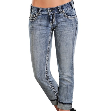 Rock & Roll Cowgirl Mix Crop Jeans - Low Rise (For Women)