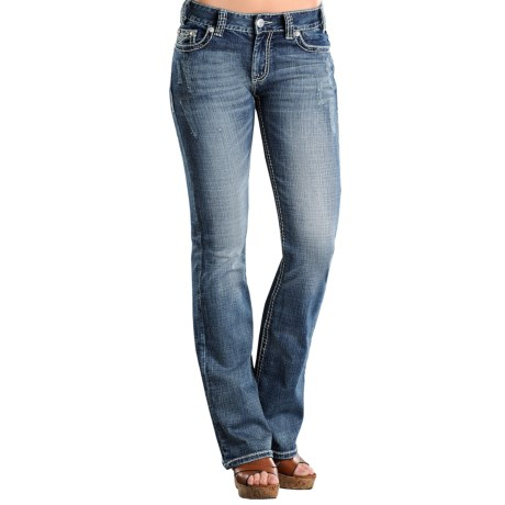 Rock & Roll Cowgirl Spider Web Jeans - Mid Rise, Bootcut (For Women)