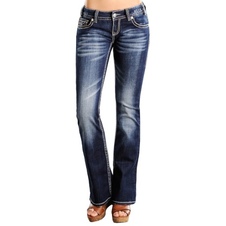 Rock & Roll Cowgirl Abstract Stitch Jeans - Low Rise, Bootcut (For Women)