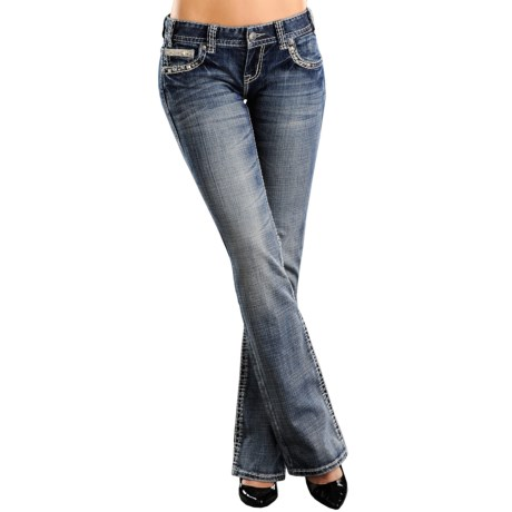 Rock & Roll Cowgirl Nailhead Jeans - Leather Pockets, Low Rise, Bootcut (For Women)