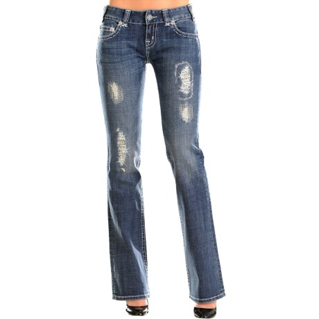 Rock & Roll Cowgirl Saddlestitch Distressed Jeans - Low Rise, Bootcut (For Women)
