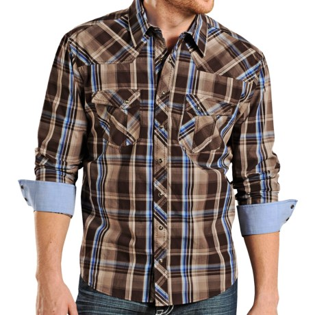 Rock & Roll Cowboy Poplin Plaid Shirt - Snap Front, Long Sleeve (For Men)