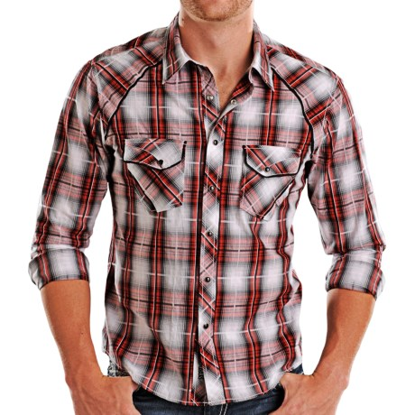 Rock & Roll Cowboy Piped Plaid Shirt - Snap Front, Long Sleeve (For Men)