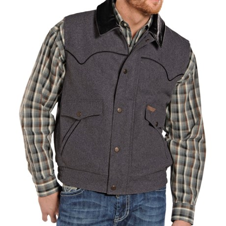 Powder River Outfitters Montana Wool Vest - Full Zip (For Tall Men)