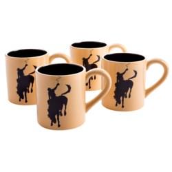 Big Sky Carvers Western Brushwerks Giddy-Up Coffee Mugs - 16 fl.oz., Set of 4