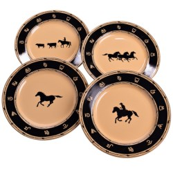 Big Sky Carvers Western Brushwerks Dinner Plates - Stoneware, Set of 4
